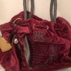 Maroon and grey velour juicy couture handbag